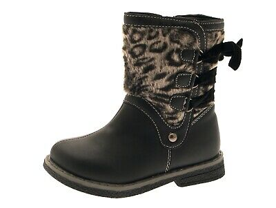 Chatterbox Childrens Kids Faux Leather Fur Mid Calf Leopard Boots Flat Size 4-11