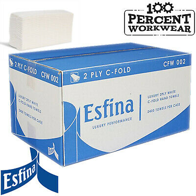 Esfina C Fold Two Ply White Paper Towels Clean Wiping Hand Drying Janitorial New