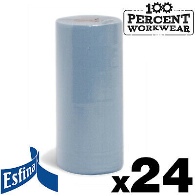 """24 Rolls Esfina 10"""" Blue Hygiene Paper Towels Clean Wiping Drying Janitorial New"""