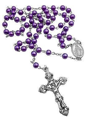 """Catholic Purple Pearl Beads Rosary Necklace Miraculous Medal Large Cross 19"""""""