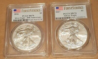 2016 & 2017 American Silver Eagle 1oz Bullion Coins~PCGS MS70~.999