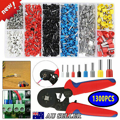 1300PC Ferrule Crimper Electrical Terminals Bootlace 0.25-10mm² Cord End Ratchet