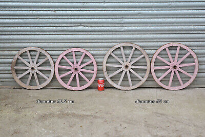 set of 4 vintage old wooden cart carriage wagon wheels wheel - 45 cm / 40.5 cm