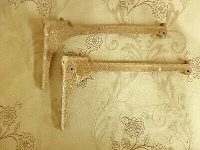 Pair Of Original Industrial Vintage French Iron Shelf Or Sink Brackets (22F)