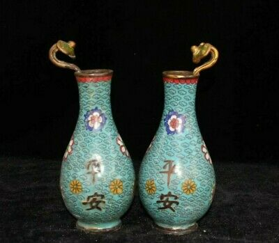 Pair Dynasty Cloisonne enamel Bronze safe ruyi flower bottle Noble Decor Vase