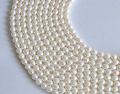 Genuine 6-7mm Natural White Rice Freshwater Pearl Oval loose Beads 15""