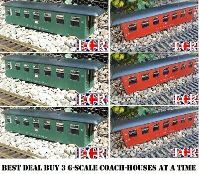 3, THREE G SCALE 45mm GAUGE RAILWAY TRAIN COACH BODY CONVERT HOUSE STORE STABLE
