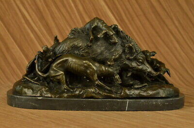 Sculpture Statue Signed Marble Wild Boar Hunting Dogs Animal Figure Art Bronze