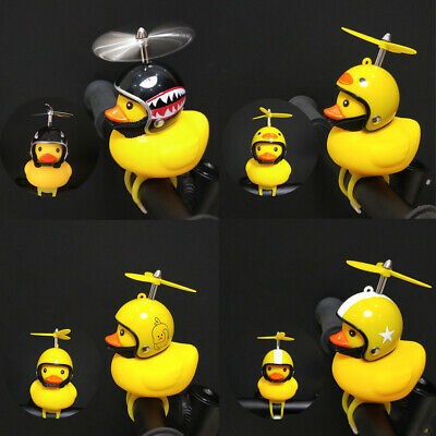 Cute Helmet Propeller Duck Kids Bike Bicycle Handlebar Bell Light Horn Lamp