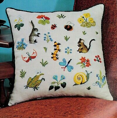 Erica Wilson WOODLAND SCENE PILLOW Vintage Crewel Kit Snail Frog Rabbit Caterpil