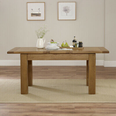 Rustic Oak Medium Extending Dining Table - 6-8 Seater - RS16