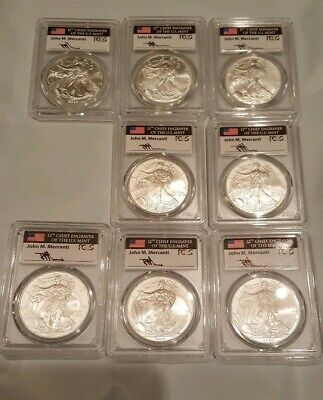 American Silver Eagle Bullion 1oz coin Lot of 8 PCGS Mercanti Signed~Gem Unc