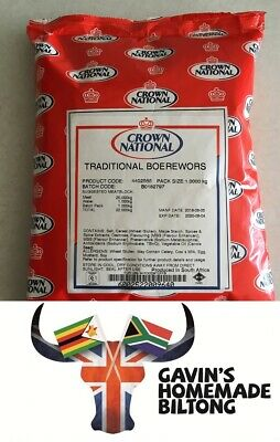 BOEREWORS TRADITIONAL Spice Seasoning 1KG* Crown National South African imported