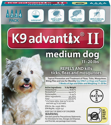 Bayer  K9 Advantix II . Flea and Tick Drops For Dogs and Puppies  MEDIUM DOGS