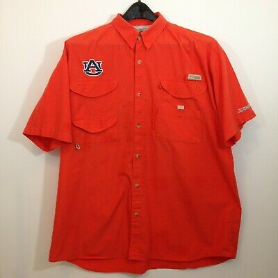 5672df82d01 Auburn Univ Columbia PFG Shirt Mens XXL SS Vented Orange Vented Fishing  Shirt