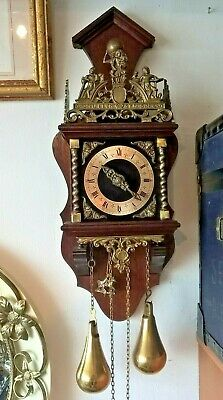 Old Wall Clock Dutch Zaanse Zaandam Warmink Wuba 8 Day Chiming Clock heigth 21""