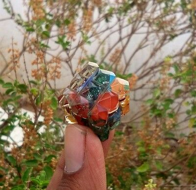 Beautiful 7 Chakra Crystals Gemstone Healing Reiki Point Orgone 54 Pyramids Cube