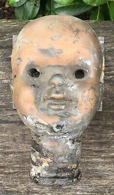 """Rare Old Vintage 1920/30s Copper & Brass Large 8"""" Macabre Spooky Doll Head Mold"""