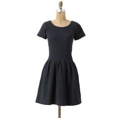 962a636a Anthropologie size XS Basketweave Fit and Flare Black Dress by Ganni 0/2