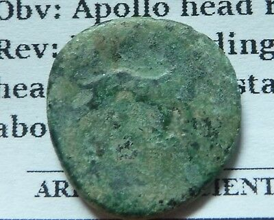 Ionia, Miletos Greek Asia minor Apollo Facing front - Lion standing Æ17 3rdc BC