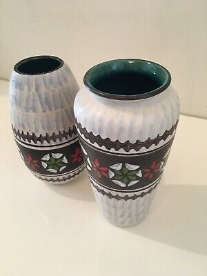 Jasba - Mid Century Modern West German Art Pottery Vase Pair Set 2 Mcm 8""