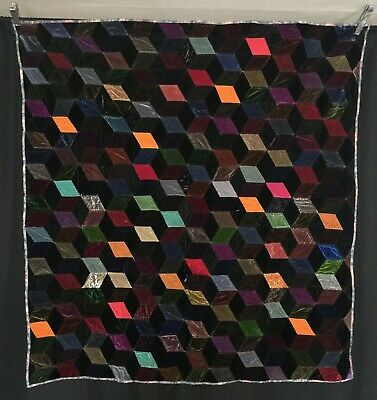 Victorian C1880 Hand Made Hand Quilted Tumbling Blocks Quilt Silk Velvets