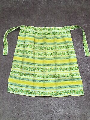 Vintage 50s 60s Retro Kitchen Waist Apron Pinny Floral Cotton Handmade Womens