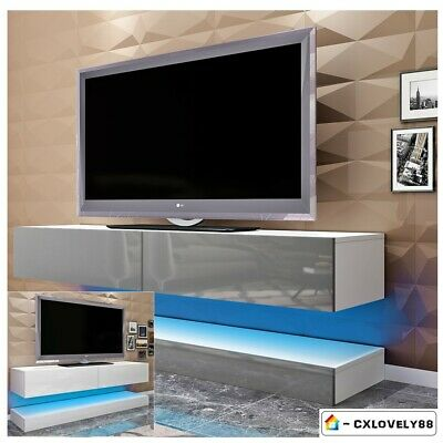 High Gloss Front Floating LED TV Cabinet Wall Mounted Unit Home Furniture 140cm