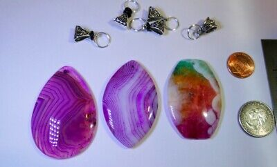 Premium Agate Pendant Sets: Wire wrappers, silver craft collectors, Pink Rainbow