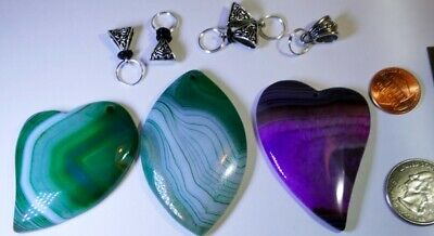 Premium Agate Pendant Sets: Wire wrappers, silver craft collectors, Green Purple