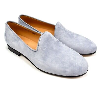 61fea2637 NWT $330 Del Toro Men's Gray Suede Prince Albert Loafers Slippers 8  AUTHENTIC