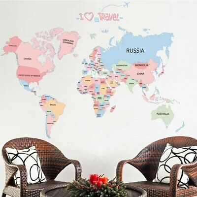 Kids Bedroom Wall Sticker World Map Home Room Decor Removable Poster Decor Z2