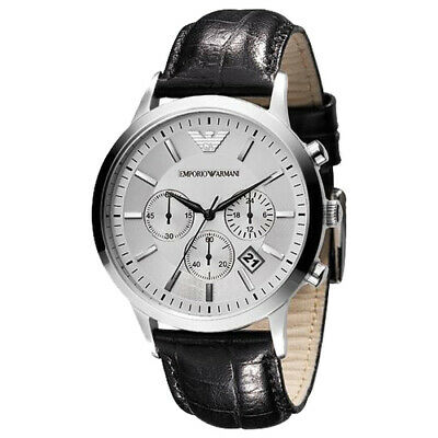 Emporio Armani Men's AR2432 Classic Chronograph Silver dial Black Leather Watch