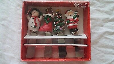Set of 4 Hand painted Holiday Christmas Characters Cheese Spreader Knives