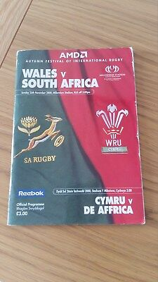 Vintage 2000 Wales V South Africa Rugby Union Programme
