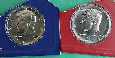 2015 P and D Kennedy Half Dollar Coin from US Mint Set 2 BU Cello Fifty Cent UNC