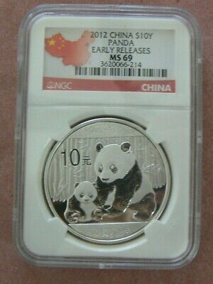 2012 CHINA PANDA 1 OZ SILVER COIN 10 YUAN NGC MS 69 EARLY RELEASES CHINESE Yn Ag
