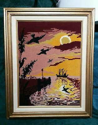 Completed & Framed Needlepoint 'Sunset In The Bayou'  Picture