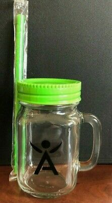 Custom ISAGENIX 12 oz Mason Jar Glass Mug w/ Handle  and GREEN straw