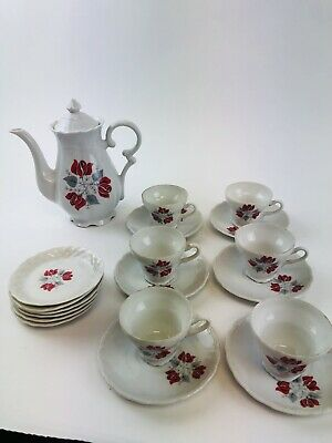 Norleans TeaPot  Bone China  Teapot  Cup and saucers red Rose