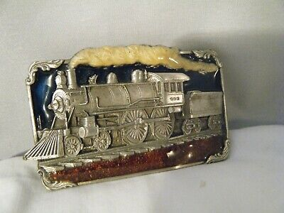Vintage 1986 Siskiyou Railroad Train Belt Buckle Pewter with enamel New
