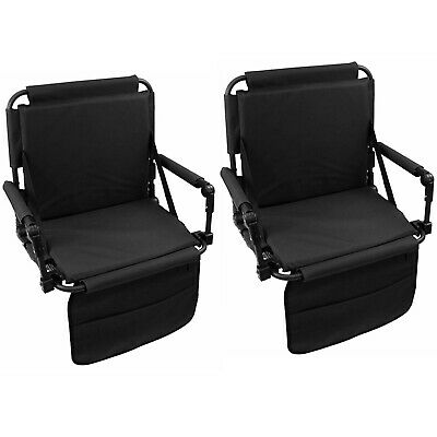Set of 2 Folding Durable Stadium Seat Chair for Bleachers with Back & Arm Rest