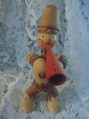 Vintage Mockba Russian Colorful Wooden Carved Doll Figurine Man Blowing Horn