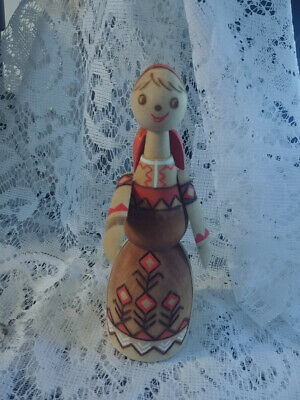 Vintage Mockba Russian Colorful Wooden Carved Doll Pretty Lady Figurine