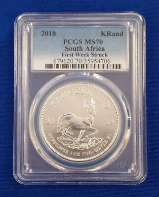 "2018-South Africa K-Rand 1oz Silver PCGS MS70 ""FIRST WEEK STRUCK"" L4184"
