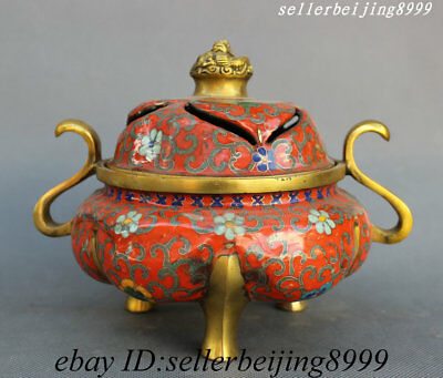 China Bronze Cloisonne Enamel Dragon Loong Beast Feng Shui Incense Burner Censer