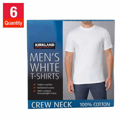 Men's 6 Pack WHITE Color Crew Neck T-Shirt 6pk Tee T Under Shirts MENS Man Adult
