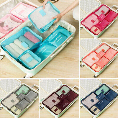 6Pcs Clothes Underwear Socks Packing Travel Luggage Organizer Bag Cube Storage