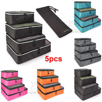 5Pcs Travel Organizer Luggage Packing Cube Pouch Shoes Storage Bag Waterproof AU