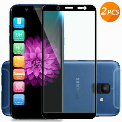 2Pcs Black Full Tempered Glass Screen Protector For Samsung Galaxy A6 2018